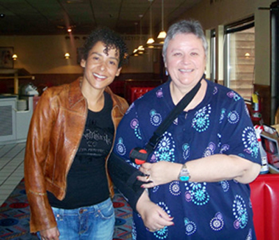 Marianne Pearl and Charon Asetoyer in the Four Directions Restaurant at the Fort Randall Casino.